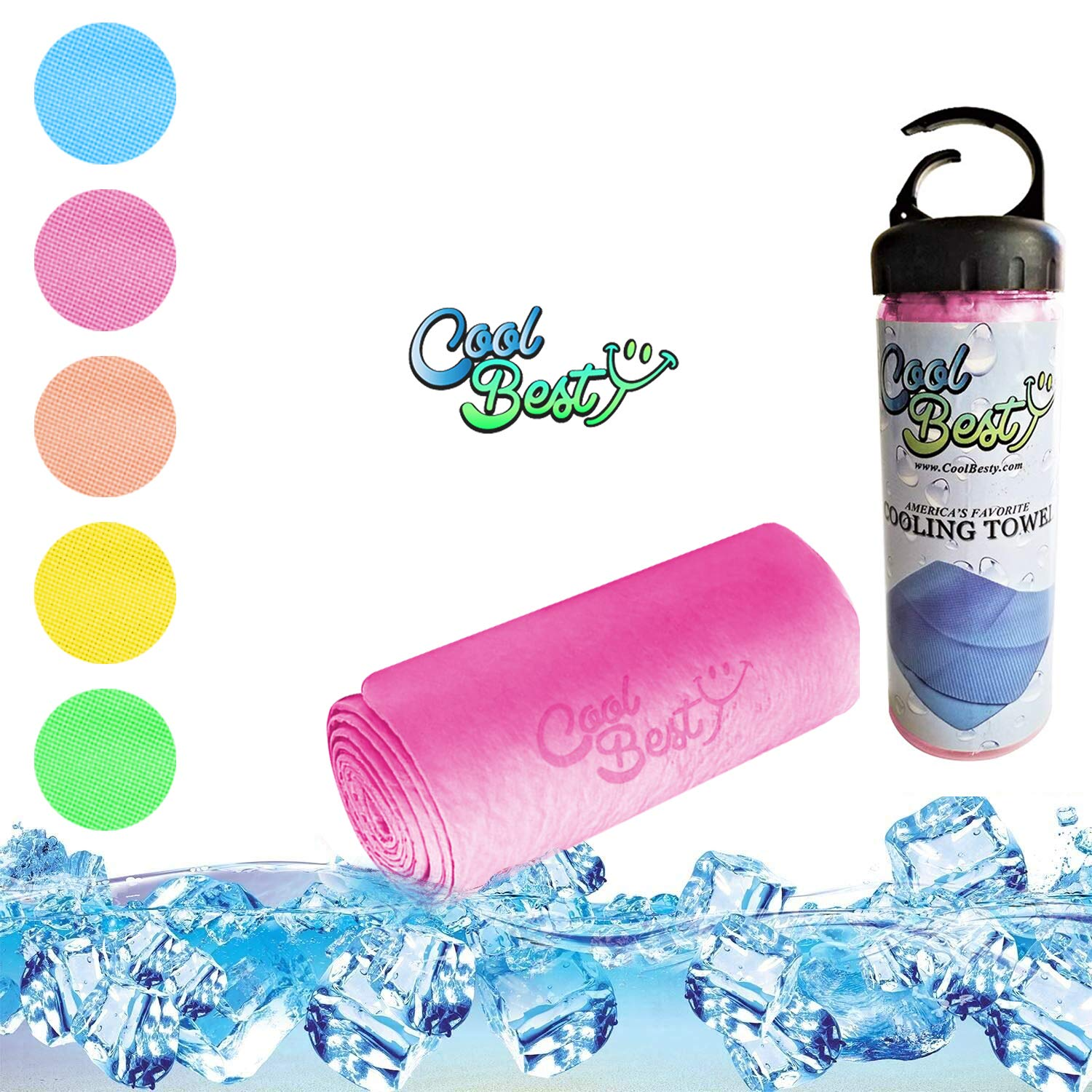 Cool Besty Cooling Towel Chilly Pad Instant Cooling Snap Towel-Best for Any Sport Activities-Hot Flashes-Fever-Premium Quality-Perfect Fitness/Workout for Athletes-Pink