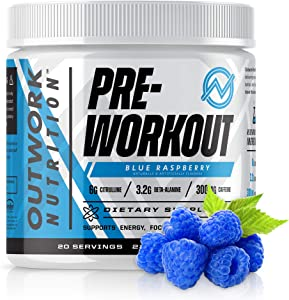 Outwork Nutrition Pre-Workout Supplement with Nootropics - Energy & Mental Focus for Better Workouts - Backed by Science (Blue Raspberry, 226 Grams)