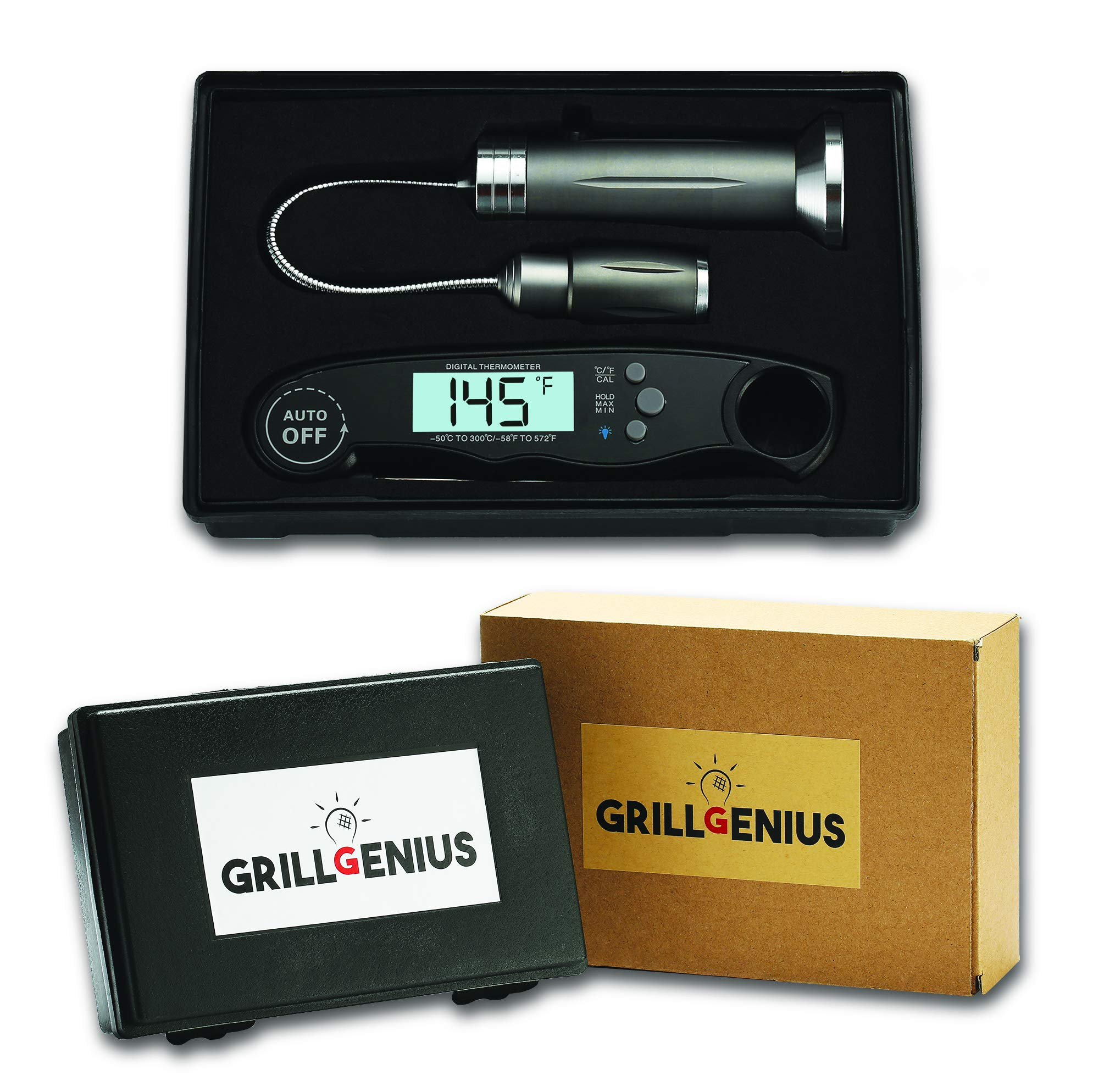 Premium Quality Outdoor BBQ Gift Set - Grill Light with Magnetic Base and Instant Read Digital Meat Thermometer - Waterproof - FDA Food Compliant - Grilling Accessories by Grill Genius