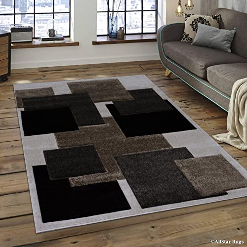 Allstar 5×7 Ivory Modern and Contemporary Hand Carved Rectangular Accent Rug with Mocha and Espresso Geometric Over Lapping Square Design 5 2 x 7 1