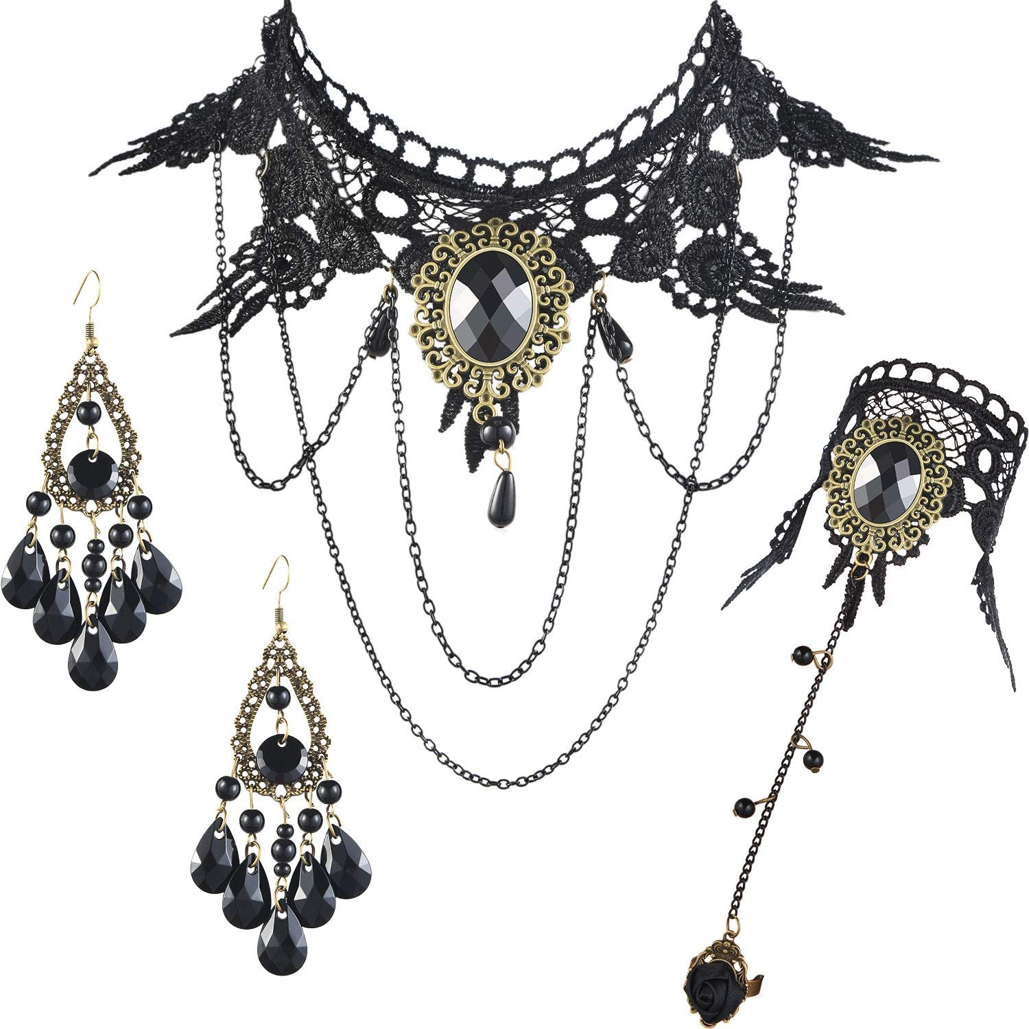 Black Choker Necklace Retro Gothic Lolita Style Jewelry with Vintage Lace Bracelet and Pendant Earrings for Halloween Costume
