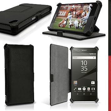 igadgitz Premium Negro PU Cuero Funda Folio Carcasa para Sony Xperia Z5 E6603 Piel Case Cover con Soporte + Protector Pantalla