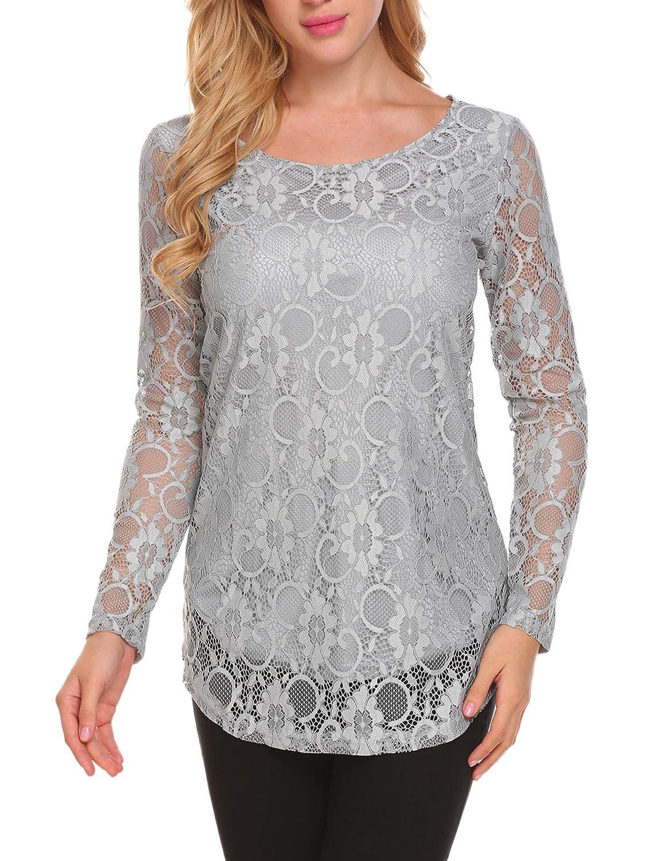 97e83d9e308 SoTeer Women's Lace Casual Tops Short Sleeve/Long Sleeve Boho Elegant  Casual Loose Blouse Shirts at Amazon Women's Clothing store: