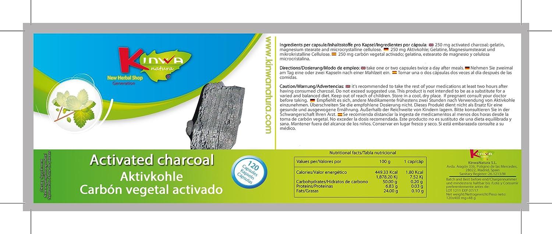 KinwaNatura Carbón vegetal activado 250mg 3X120 cápsulas: Amazon.es: Salud y cuidado personal