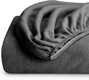 Bare Home Super Soft Fleece Fitted Sheet - King Size - Extra Plush Polar Fleece, Pill Resistant - Deep Pocket - All Season Cozy Warmth, Breathable & Hypoallergenic (King, Grey)