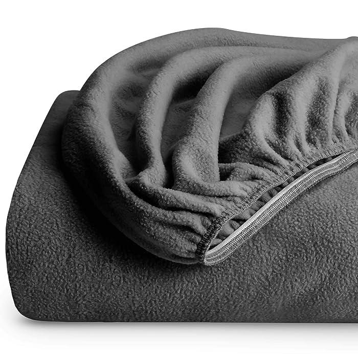 Bare Home Super Soft Fleece Fitted Sheet - Queen Size - Extra Plush Polar Fleece, Pill Resistant - Deep Pocket - All Season Cozy Warmth, Breathable & Hypoallergenic (Queen, Grey)