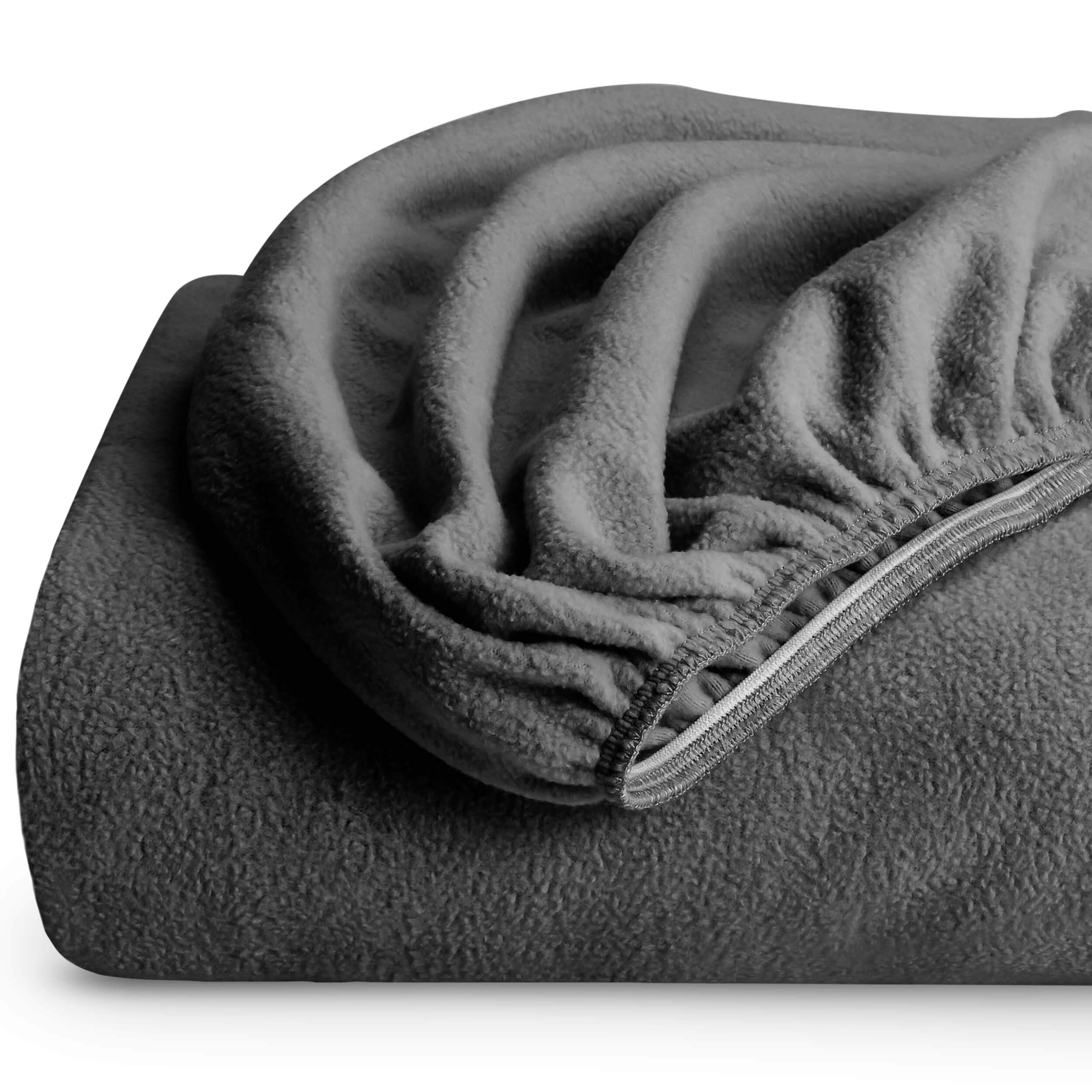 Bare Home Super Soft Fleece Fitted Sheet - Full Size - Extra Plush Polar Fleece, Pill Resistant - Deep Pocket - All Season Cozy Warmth, Breathable & Hypoallergenic (Full, Grey)