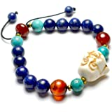 Vivre dans la joie heureux mignon de Bouddha Amulette Lapis Lazuli Bracelet, décoratifs rouges cornaline perles et de cuivre, 6-10 cm extensible