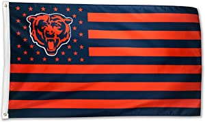 WHGJ Chicago Bear NFL 3x5 FT Flag Fade Resistant Large Funny Bears Stars and Stripes Indoor/Outdoor Sports Banner