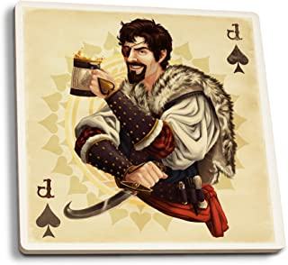 product image for Lantern Press Jack of Spades - Playing Card (Set of 4 Ceramic Coasters - Cork-Backed, Absorbent)