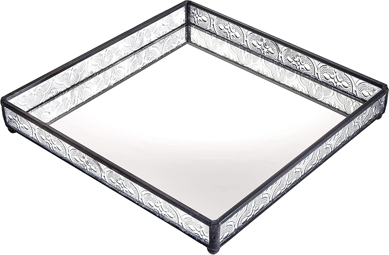 Small Glass Tray Mirrored Bottom Decorative Bathroom Vanity Makeup Organizer Jewelry Display Perfume Holder Dresser D cor Candle Tray 8 x 8 Square J Devlin Tra 115