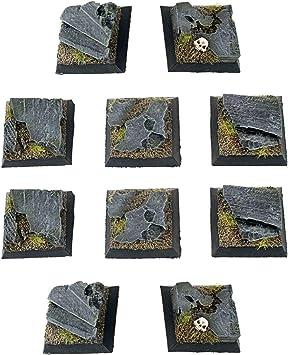 War World Gaming Fantasy Battlefield - Peanas Cuadradas de Rocas x 10 (25mm) - 28mm Wargaming Diorama Miniaturas Batalla Medieval Edad Media Maqueta Wargame: Amazon.es: Juguetes y juegos