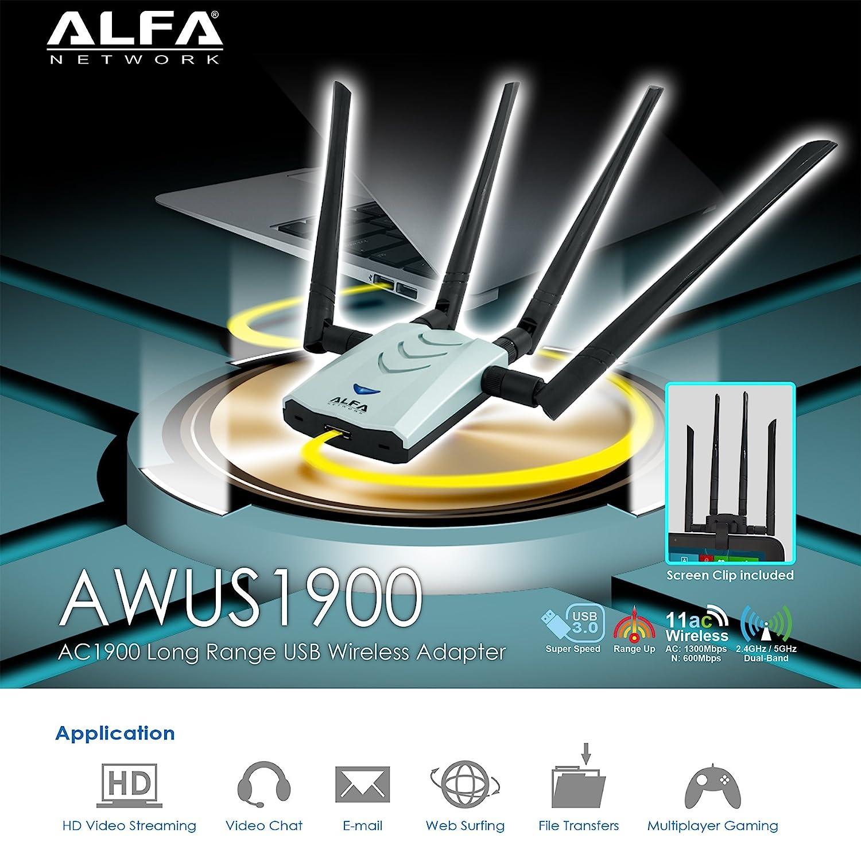 Alfa AC1900 Wifi adapter - 1900 Mbps 802  11ac Long-Range Dual Band USB 3   0 Wi-Fi Network Adapter w/4x 5dBi External Dual-Band Antennas