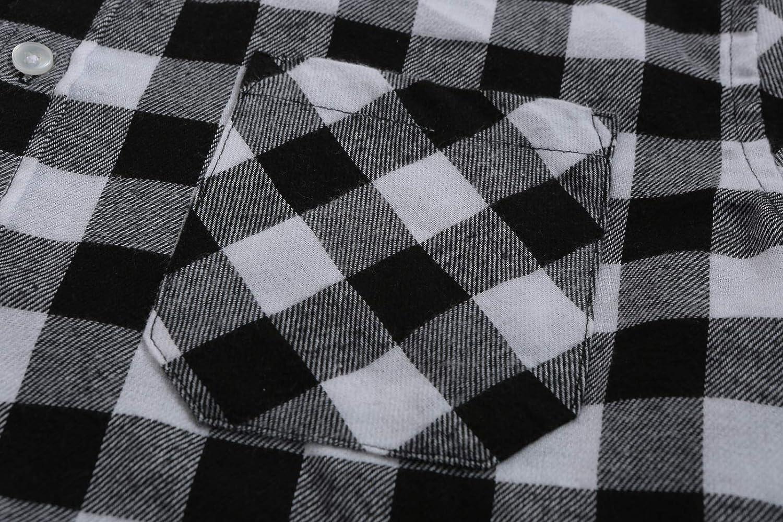 Emiqude Mens 100/% Cotton Slim Fit Long Sleeve Button Down Flannel Plaid Dress Shirt