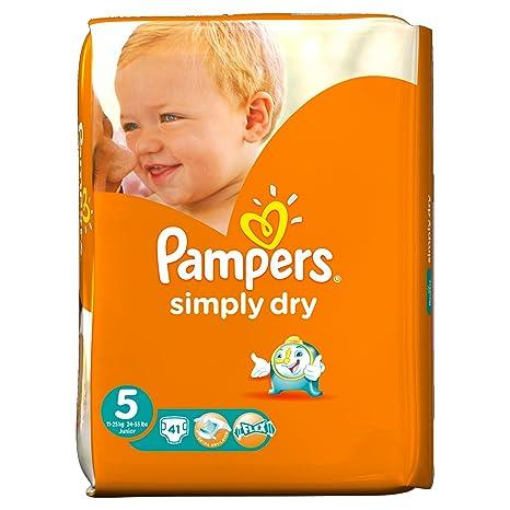 Pampers Simply Dry - Paquete de 41 pañales de talla 5 para bebé de 11 a