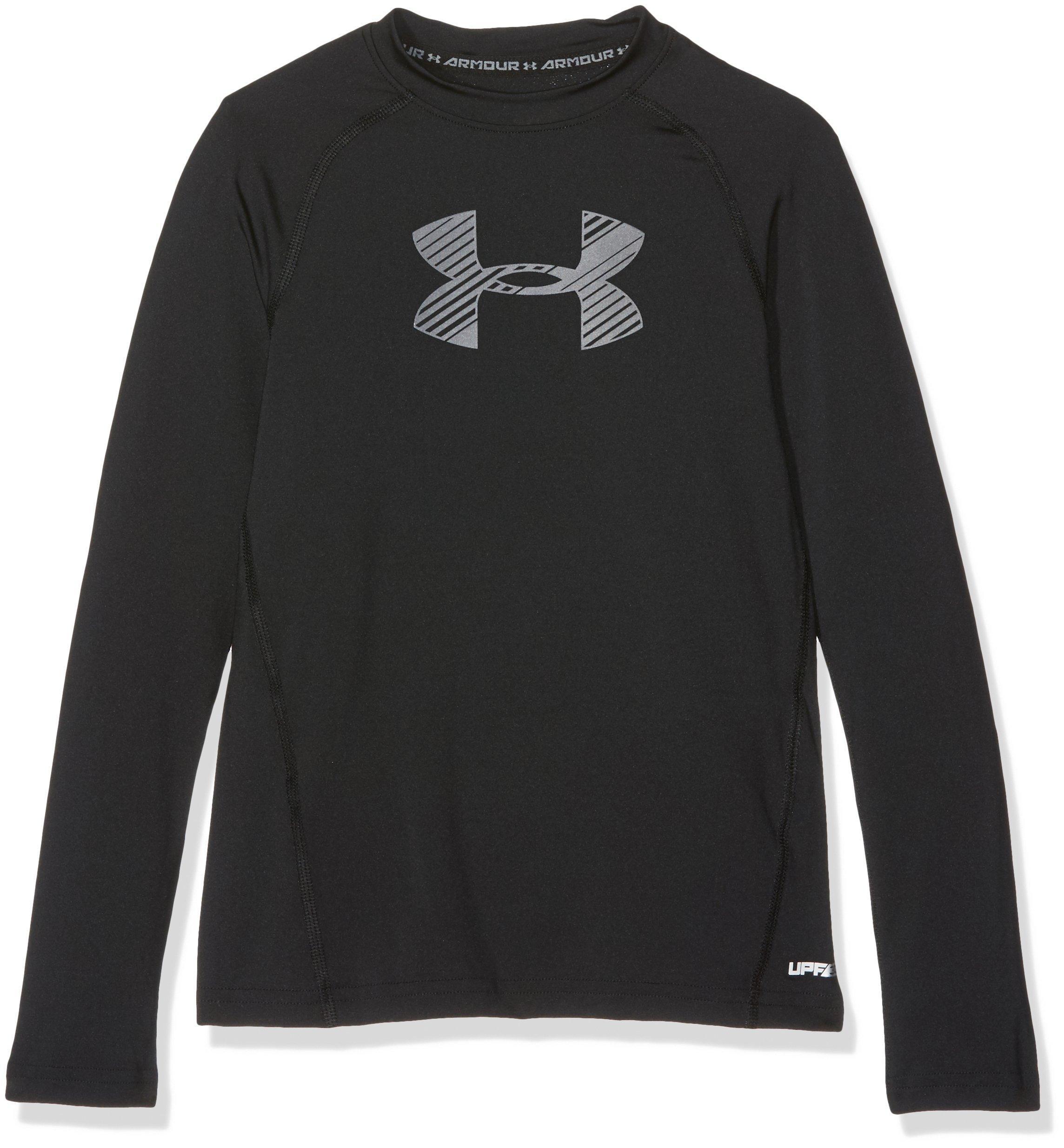 Under Armour Boys' HeatGear Armour Long Sleeve, Black /Graphite, Youth Small