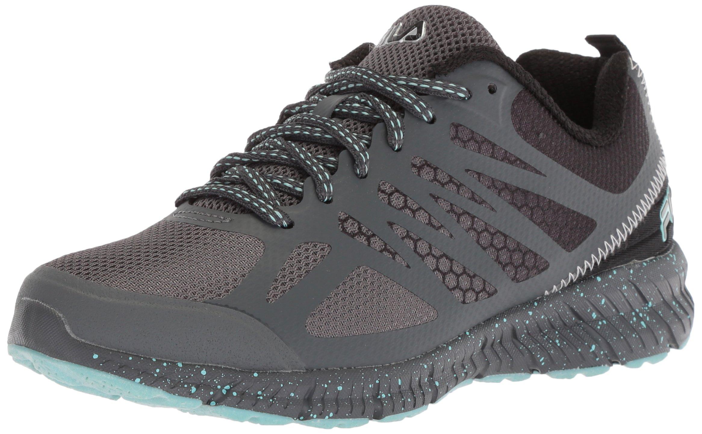 Fila Women's Memory Speedstride Trail Running Shoe, Dark Shadow/Black/Aruba Blue, 9 Medium US