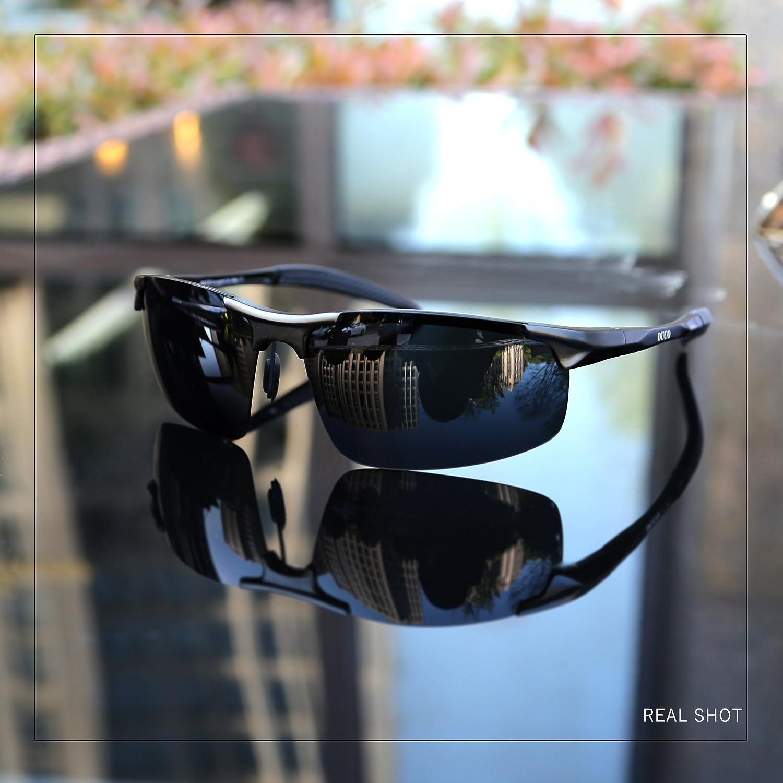 70939658d08ce Duco Men s Driving Sunglasses Polarised Glasses Sports Eyewear Fishing Golf  Goggles 8177S (Black Frame