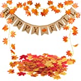 Famoby Happy Fall Pumpkin Burlap Banner and Maple Leaf Garland Confetti for Harvest Time Autumn Theme Party Thanksgiving…