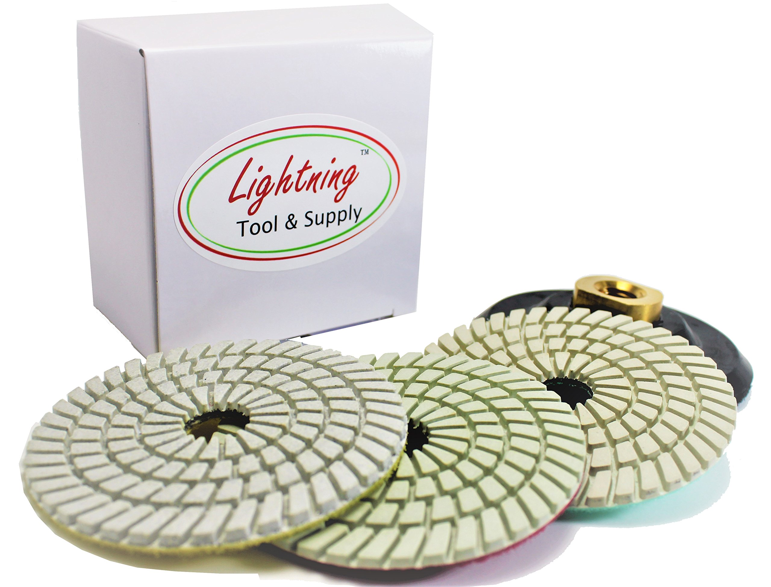 Lightning Tool & Supply Pro-Series 4'' Inch Wet/Dry Diamond Polishing Pads 3-Step Set with Rubber Backer for Granite, Marble, and Natural Stone