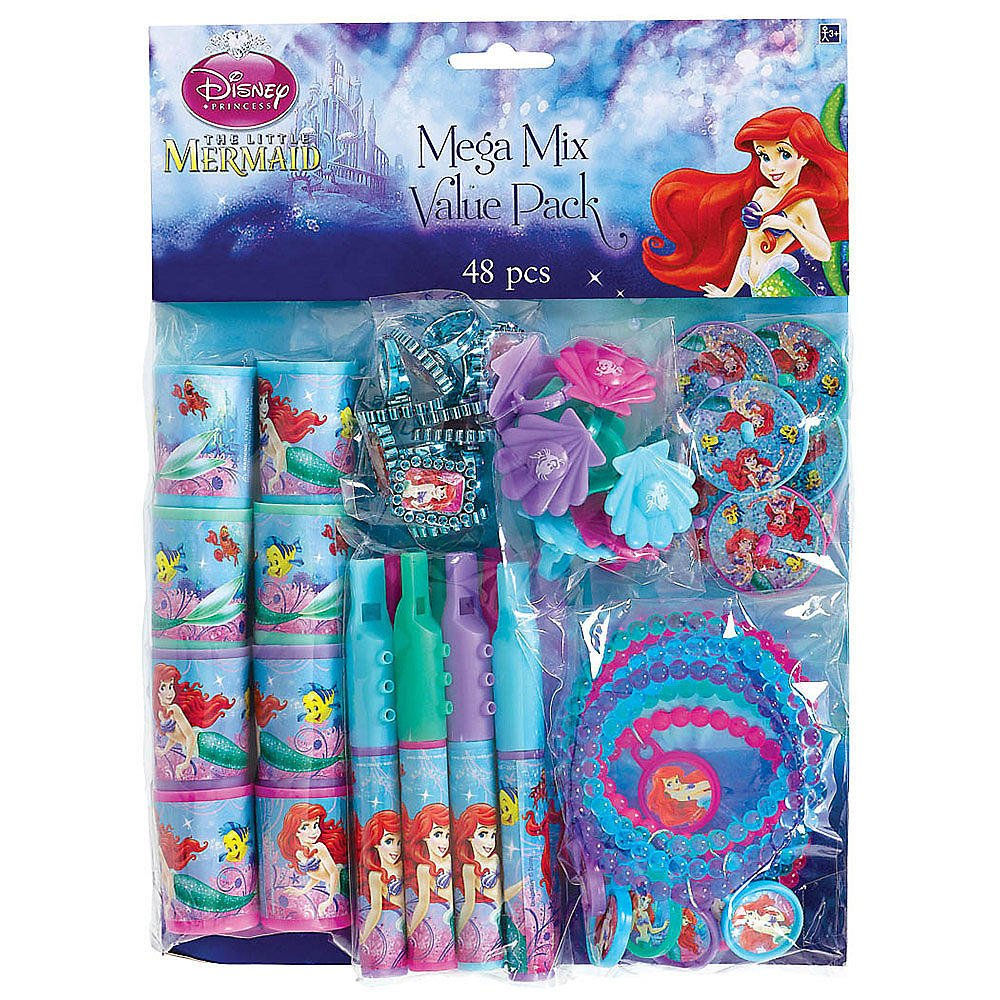 LITTLE MERMAID Birthday Party Plates Napkins Tiaras Banner Tablecover Lip Gloss