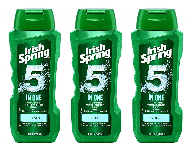 Irish Spring Body Wash & Shampoo - 5 in 1 - Net Wt. 18 FL OZ (532 mL) Per Bottle - Pack of 3 Bottles