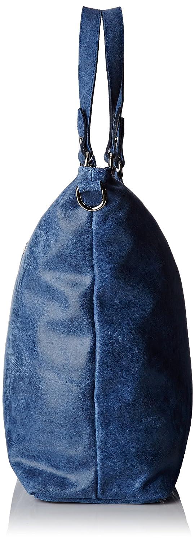 Chicca Borse dam 80055 axelväska, 47 x 34 x 15 cm Blå (blå jeans)