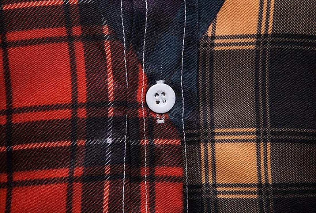 Fubotevic Mens Long Sleeve Plaid Button Up Color Block Business Dress Work Shirt