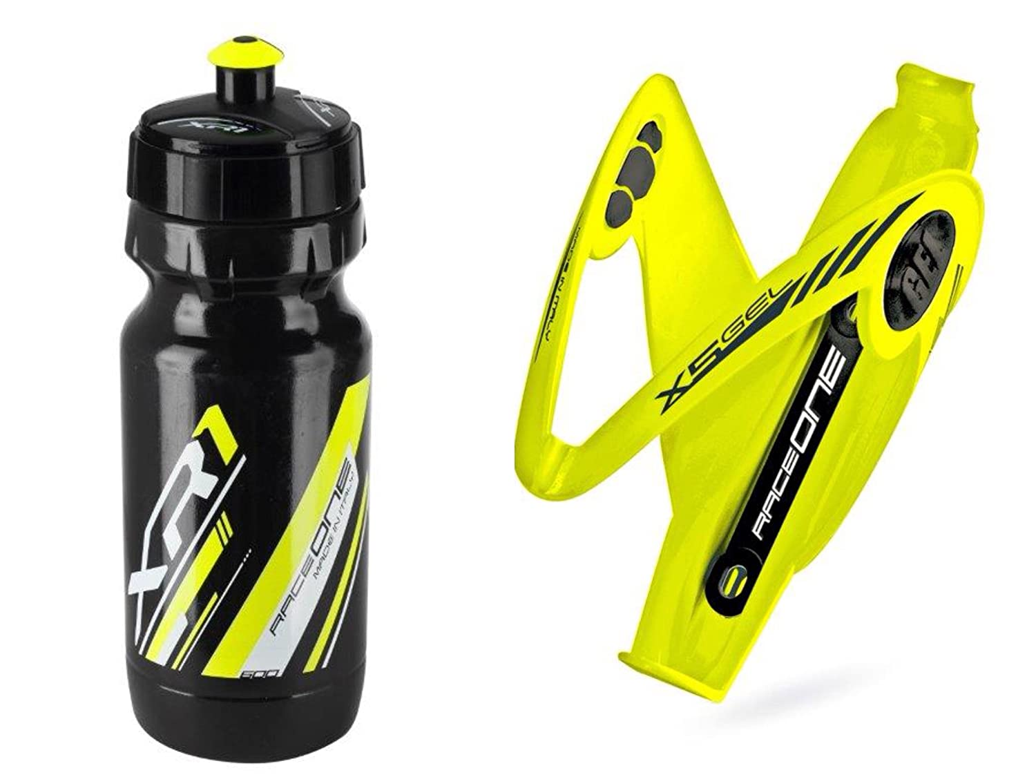 Raceone.it - Kit Race Duo X5 Gel (2 PCS): Porta Bidon X5 + Bidon de Ciclismo XR1 Bici Carrera de Ruta/Bicicleta de Montaña MTB/Gravel Bike. Color: Amarilo/Negro 100% Made IN Italy Raceone Srl