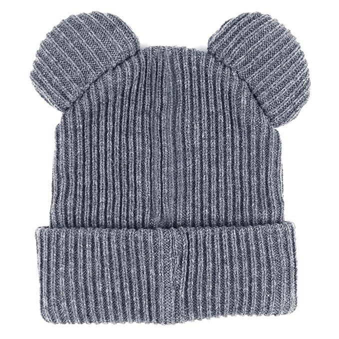 MEIWO Gorras de Invierno para Mujer Sombreros de Diablo Oído de Gato Gorro  de Punto Trenzado da57239559a