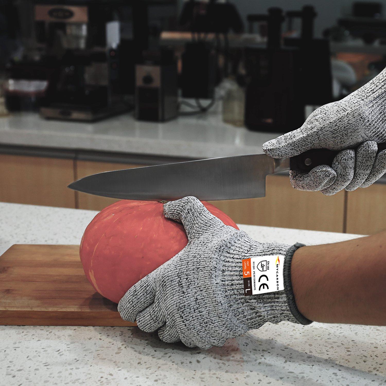 MYCARBON Resistente al Corte Guantes Cortes Fijos Guantes de Cocina Cortar la Clase de Protección 5 ES 399 CE para Construcción de la Cocina Guantes de ...