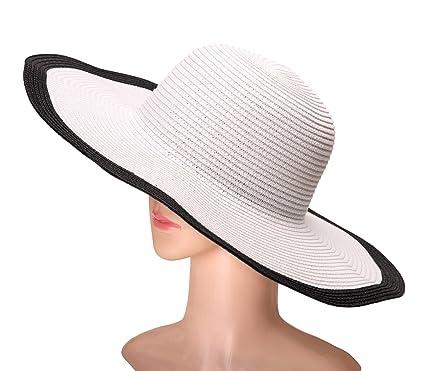676114fc Dosoni Womens Floppy Summer Sun Beach Straw Hats Accessories Wide Brim  Foldable - White -: Amazon.co.uk: Clothing