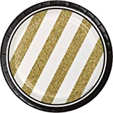 """Creative Converting 8 Count Sturdy Style Paper Dessert Plates, 7"""", Black/Gold"""