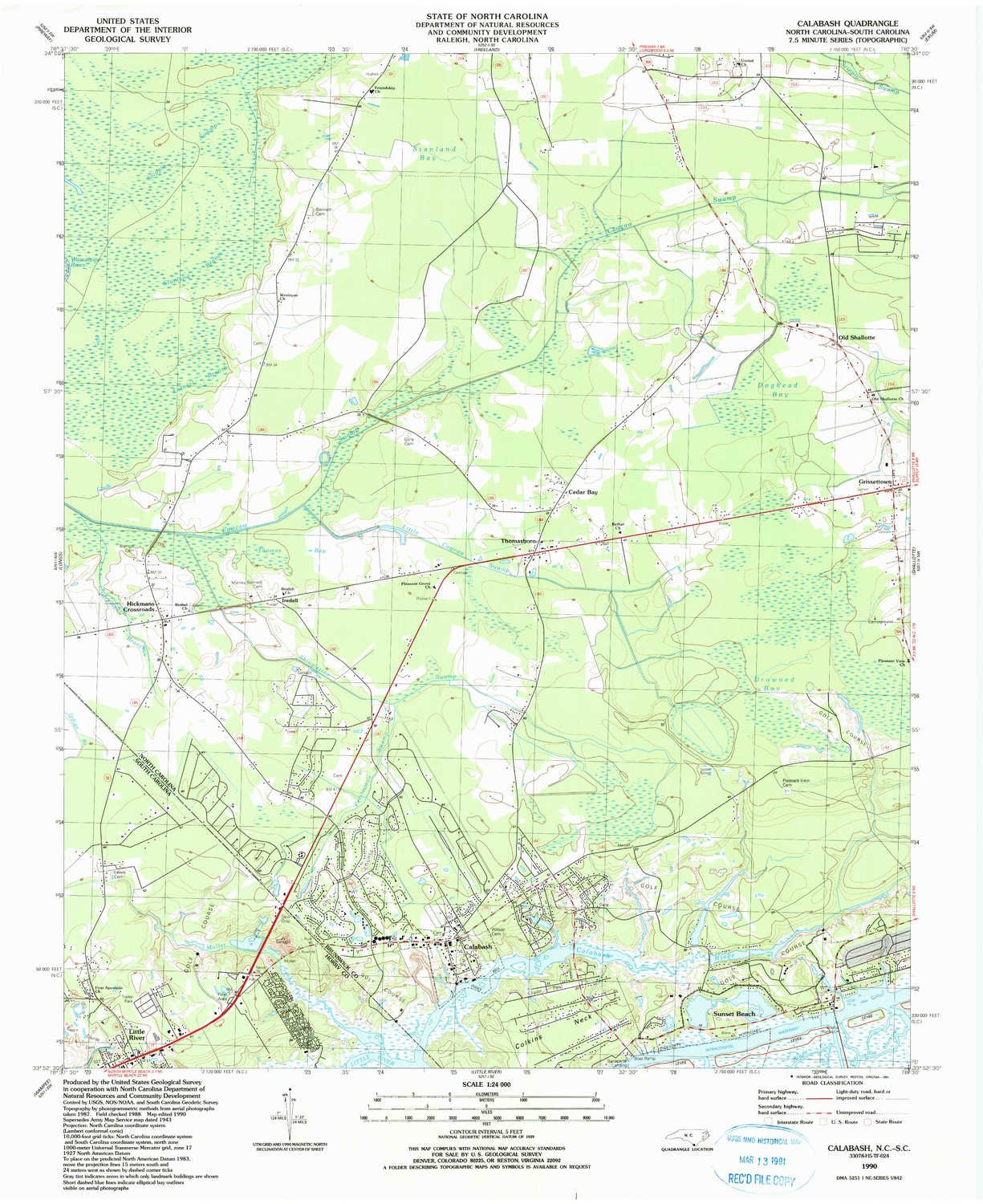 Amazon Com Yellowmaps Calabash Nc Topo Map 1 24000 Scale 7 5 X