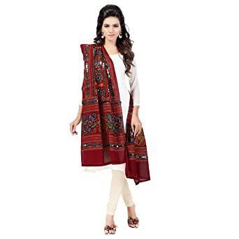 Banjara Women's Kutchi Work Dupatta Bharchak Dupattas & Stoles at amazon