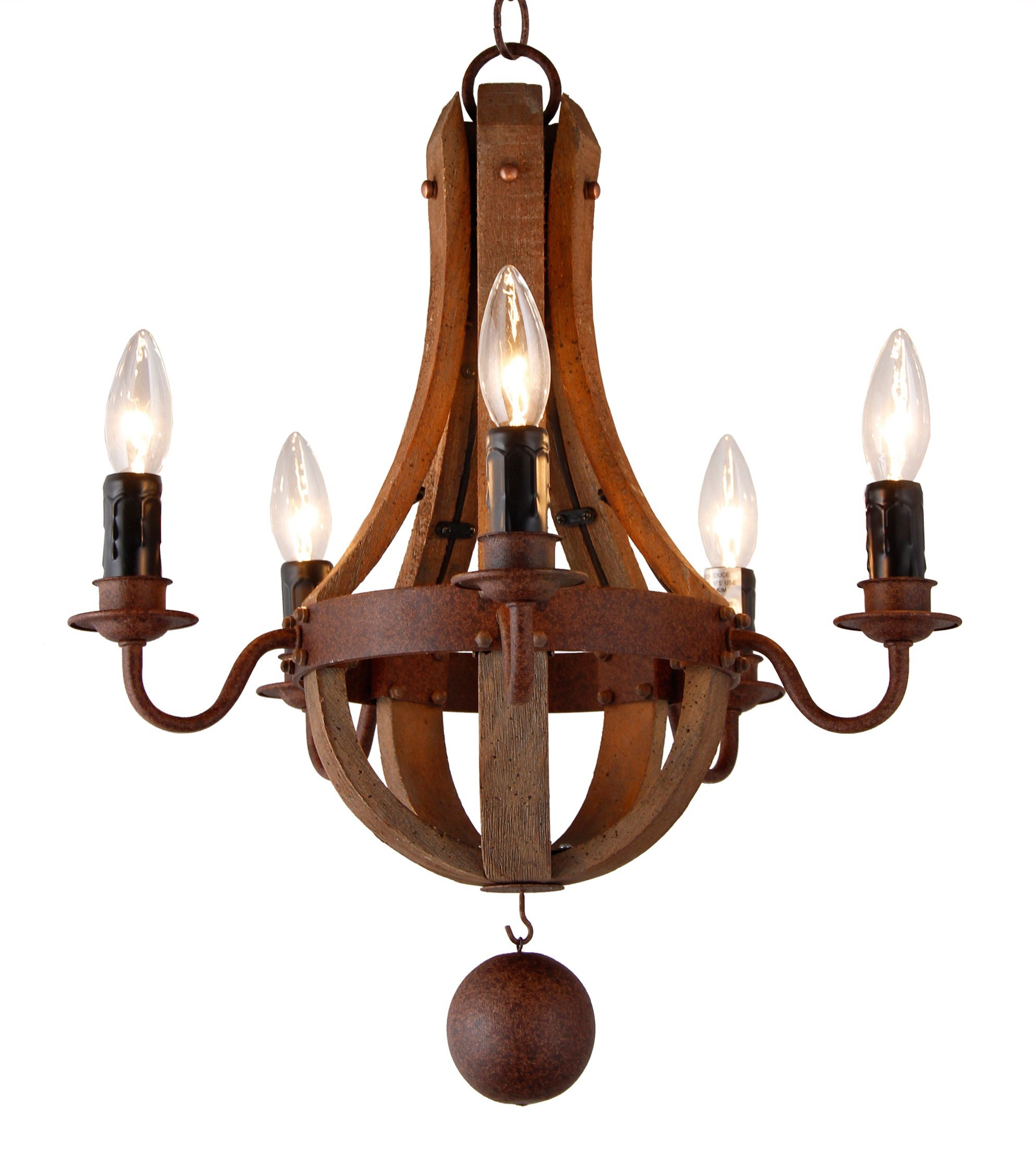 16.7 Inch Vintage French Country Wood Metal Mini Wine Barrel Chandelier (5 Light Heads) Living Dinning Kitchen Lamp