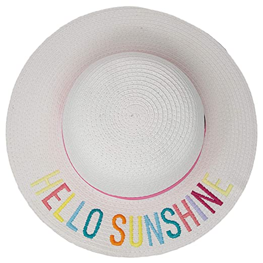 18a58679dad Amazon.com  H-3017-HS09M Girls Embroidered Sun Hat - Hello Sunshine ...