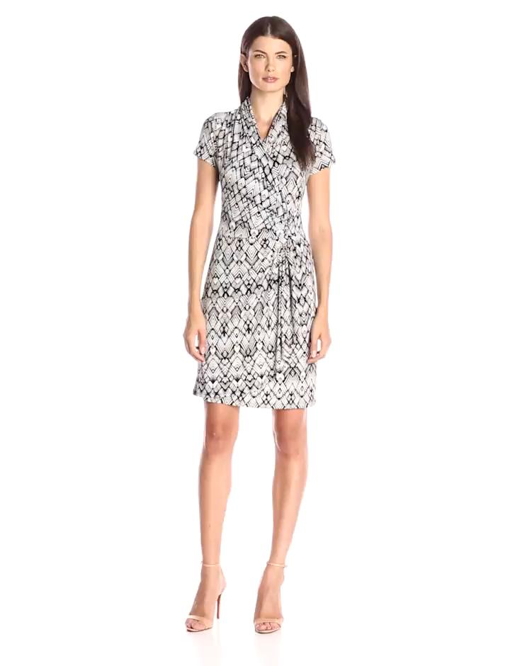 Karen Kane Womens Short Sleeve Cascade Wrap Dress Print Small At