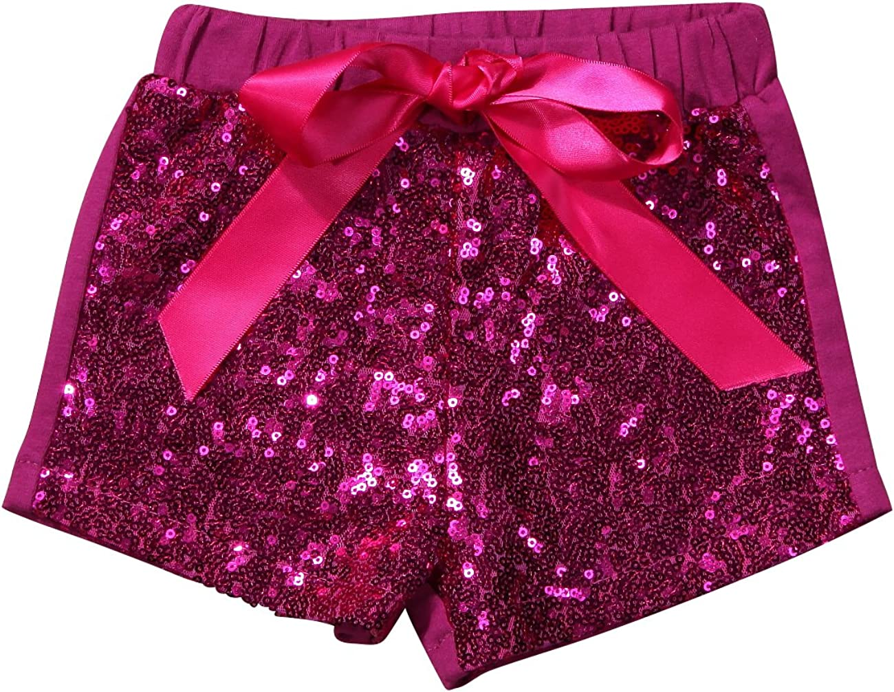 Viclearshop 1-5 Year Baby Girls Shorts Toddlers Short Sequin Pants with Bow