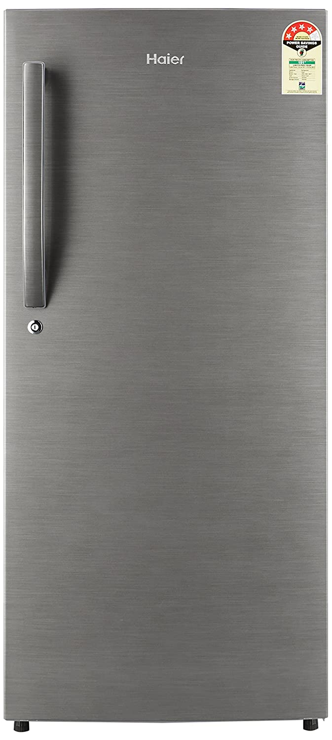 Haier 195 L 4 Star Direct-Cool Single Door Refrigerator (HRD-1954BS-R/HRD-1954BS-E, Brushed Silver)