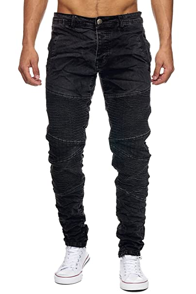Megastyl Biker-Jeans-Hose Herren Stretch-Denim Slim-Fit Knee-Stitches