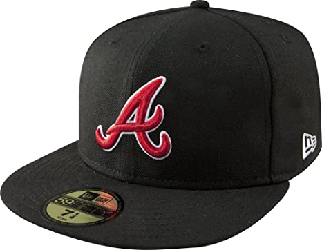 online store bdac4 57f06 MLB Atlanta Braves Black with Scarlet and White 59FIFTY Fitted Cap, 6 7 8