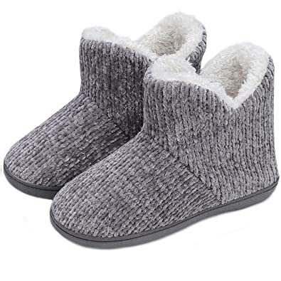 663543656940f TUOBUQU Women Warm Bootie Slippers Fluffy Plush Indoor Outdoor Winter Booty  Slippers Grey S