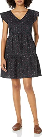 Marca Amazon - Goodthreads Washed Linen Blend Flutter Sleeve Peasant Dress - dresses Mujer
