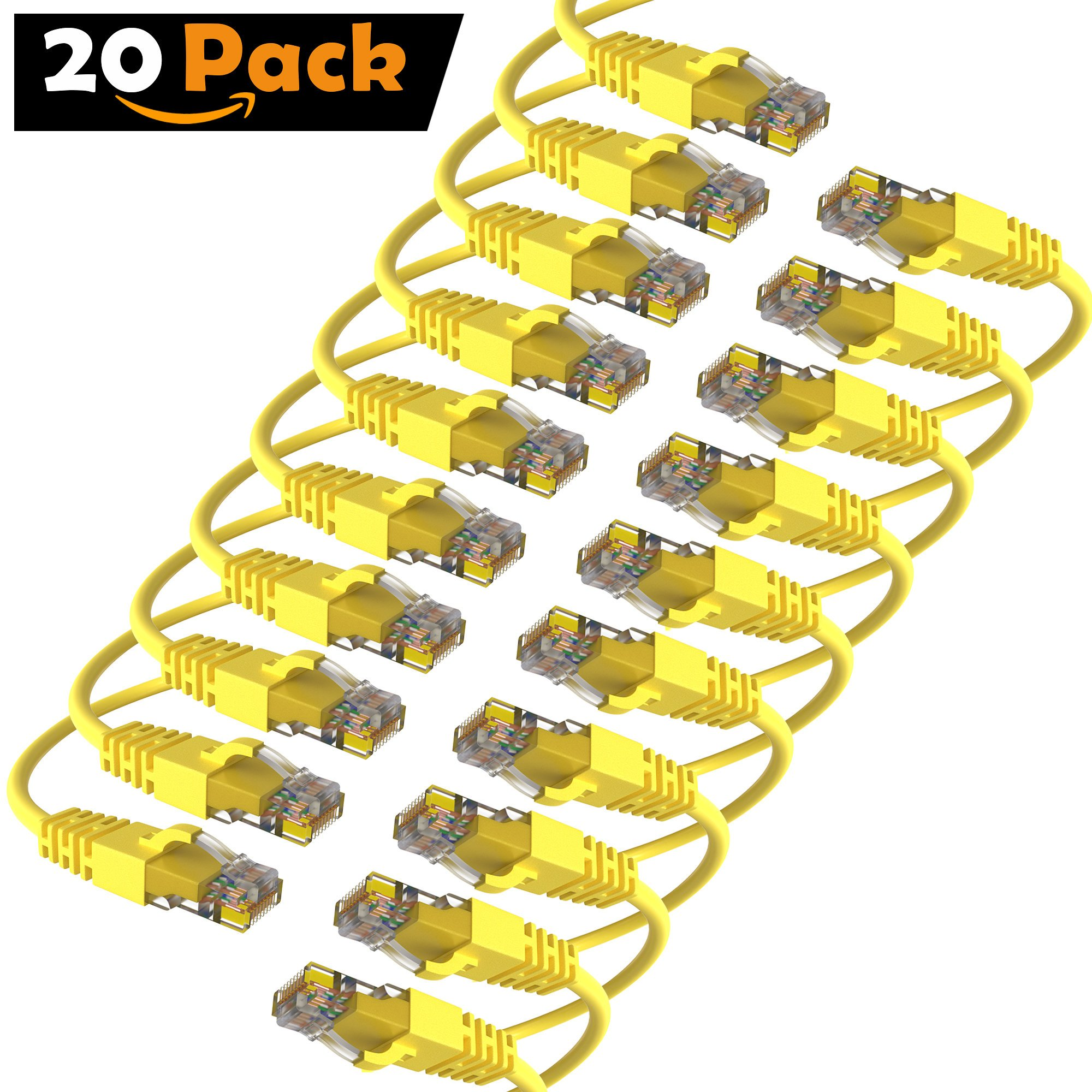 Maximm Cat6 Snagless Ethernet Cable - 25 Feet - Yellow - [20 Pack] - Pure Copper - UL Listed - Cable Ties Included by Maximm (Image #1)
