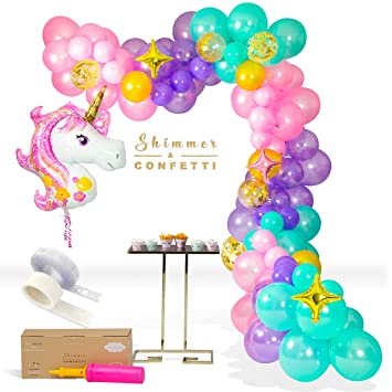 3d653b6638f29 Shimmer and Confetti Premium 16 Foot Unicorn Balloon Arch and Garland Kit  with Giant Unicorn Balloon, 145 Pink, Purple and Aqua Balloons, 5 Gold ...