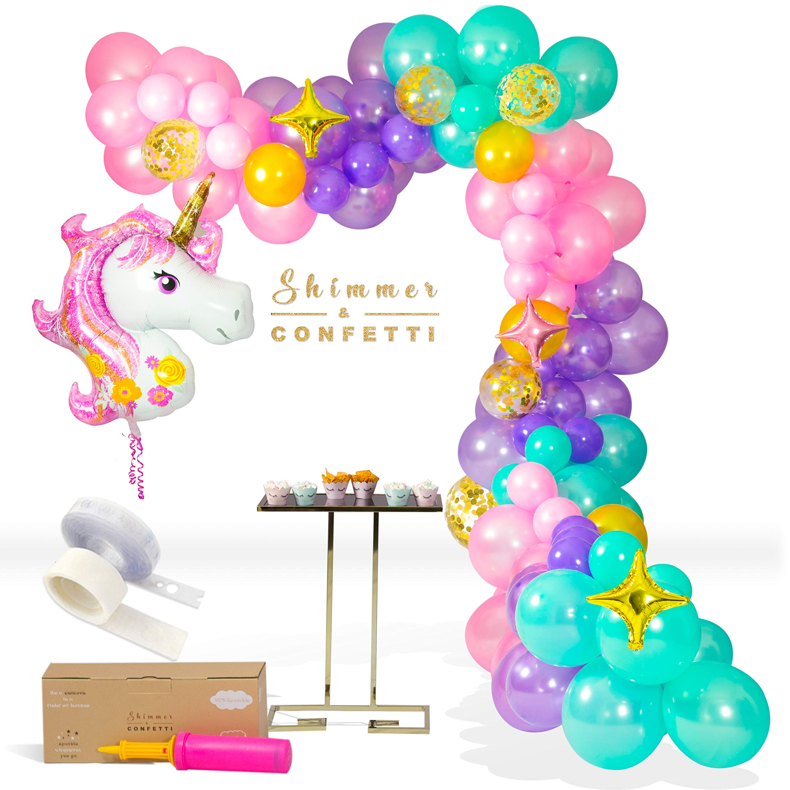 Shimmer and Confetti Premium 16 foot Unicorn Balloon Arch and Garland Kit with Giant Unicorn Balloon, 145 Pink, Purple and Aqua Balloons, 5 Gold Confetti Balloons, Stars, 16 foot Balloon Strip, Pump