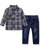 Ferenyi US Kids Clothing Boys Casual Short Sleeved Plaid Shirt and Denim Jeans Sets