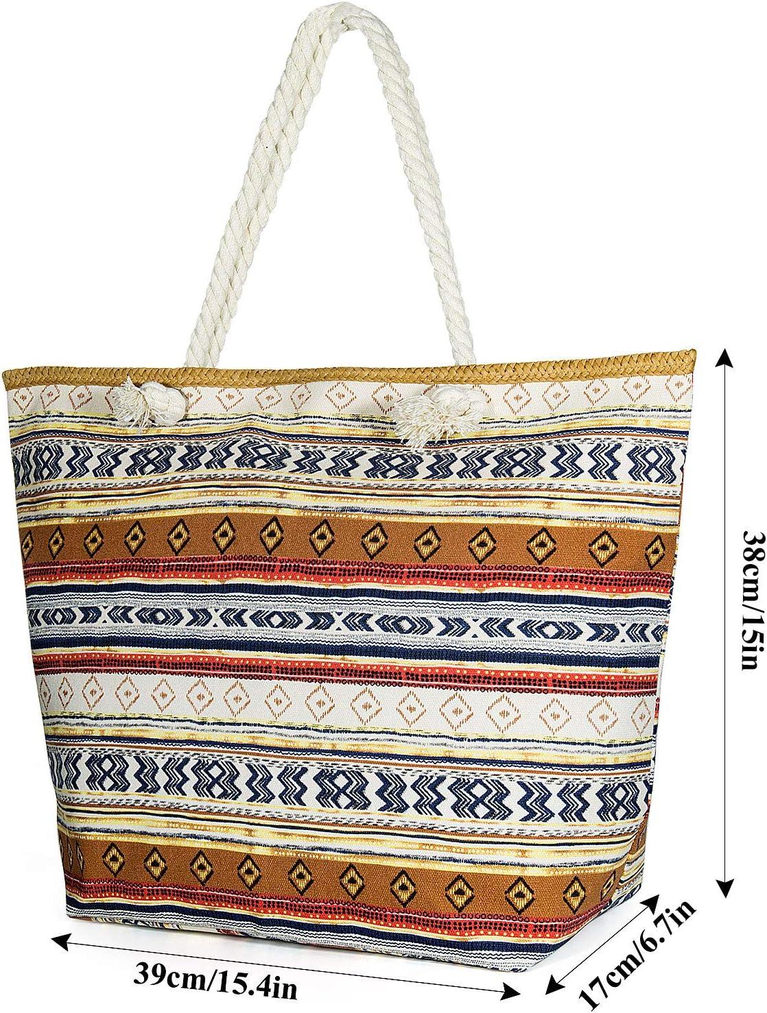 Czemo Gro/ße Strandtasche mit Rei/ßverschluss und Innentasche Wasserdicht Badetasche Einkaufstasche Shopper f/ür Damen