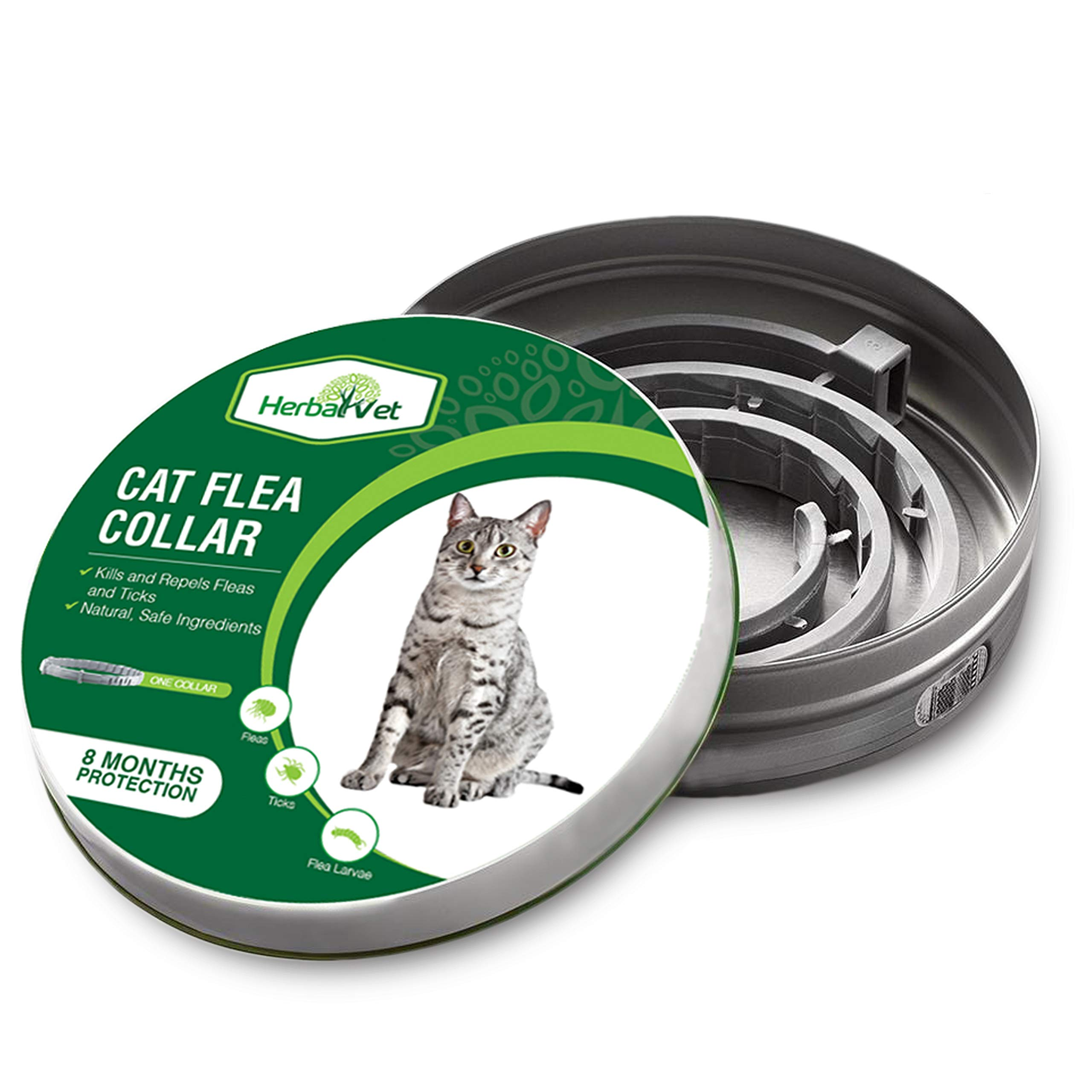 HerbalVet Cat Flea Collar for Flea and Tick Treatment and Prevention | Premium Version, Collars Work for Cats and Kittens, Prevents Reinfection | Helpful E-Book Included by HerbalVet